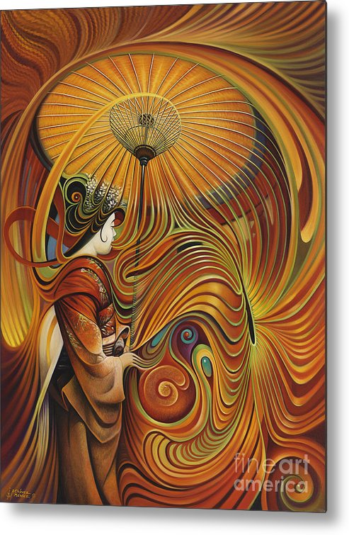 Dynamic Metal Print featuring the painting Dynamic Oriental by Ricardo Chavez-Mendez