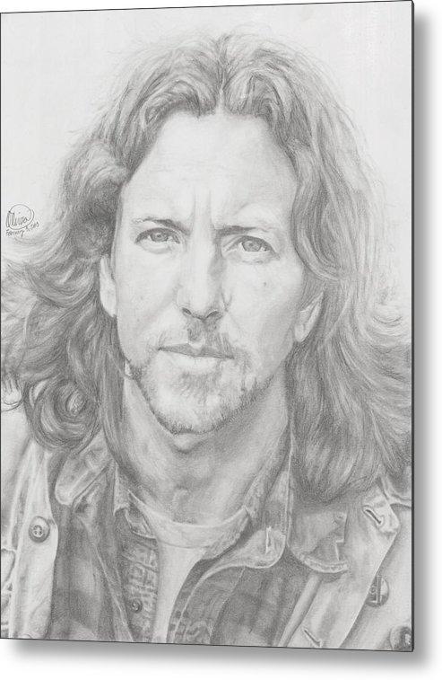 Eddie Vedder Metal Print featuring the drawing Eddie Vedder by Olivia Schiermeyer