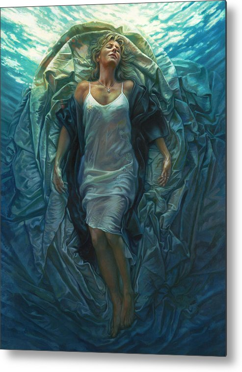 Conceptual Metal Print featuring the painting Emerge Painting by Mia Tavonatti