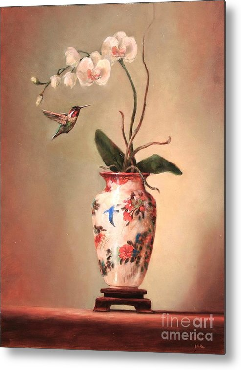 Japanese Metal Print featuring the painting Hummingbird And White Orchid by Lori McNee