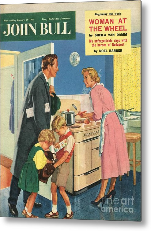 1950�s Metal Print featuring the drawing John Bull 1957 1950s Uk Cooking by The Advertising Archives