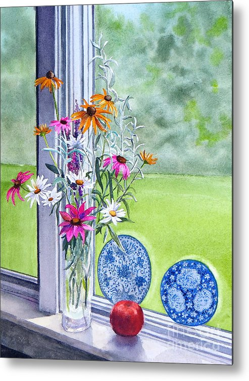 Flowers Metal Print featuring the painting My Kitchen Window by Karol Wyckoff