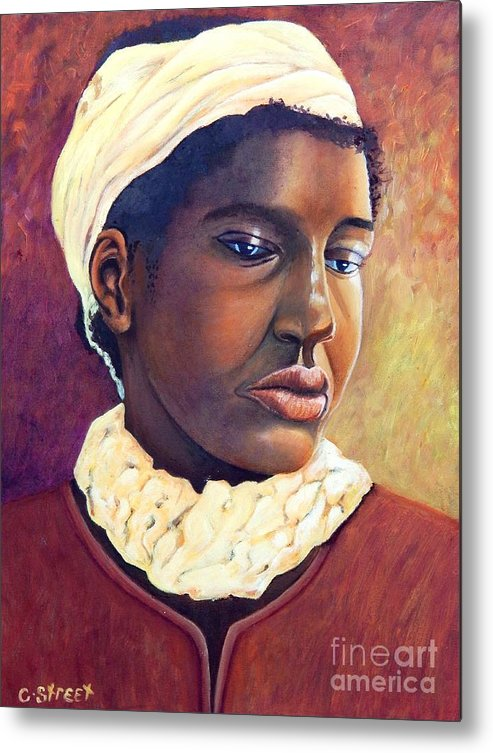Portrait Metal Print featuring the painting Pensive Contemplation by Caroline Street