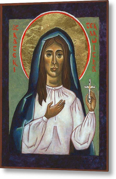 St Kateri Metal Print featuring the painting St Kateri Tekakwitha by Jennifer Richard-Morrow