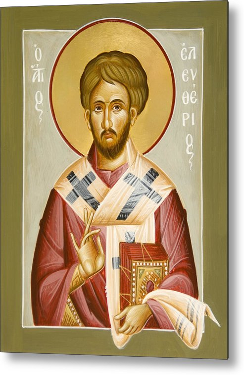 St Eleftherios Metal Print featuring the painting St Eleftherios by Julia Bridget Hayes