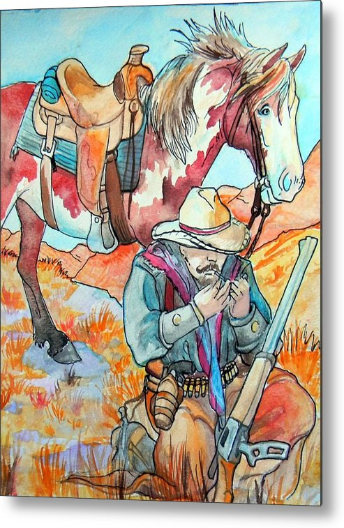 Cowboy Metal Print featuring the painting Waiting For Sunset by Jenn Cunningham