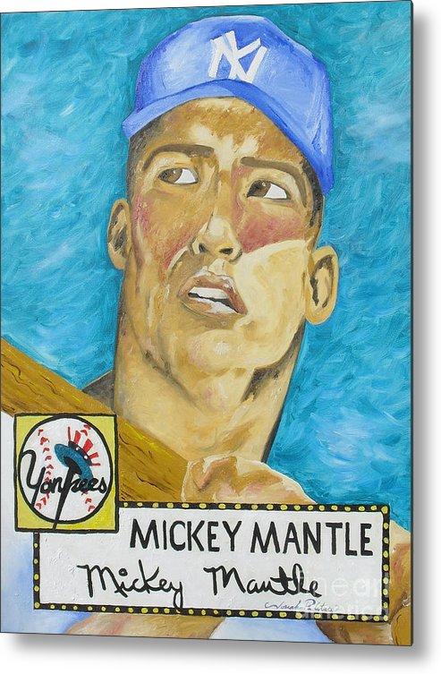 Mickey Mantle Metal Print featuring the painting 1952 Mickey Mantle Rookie Card Original Painting by Joseph Palotas