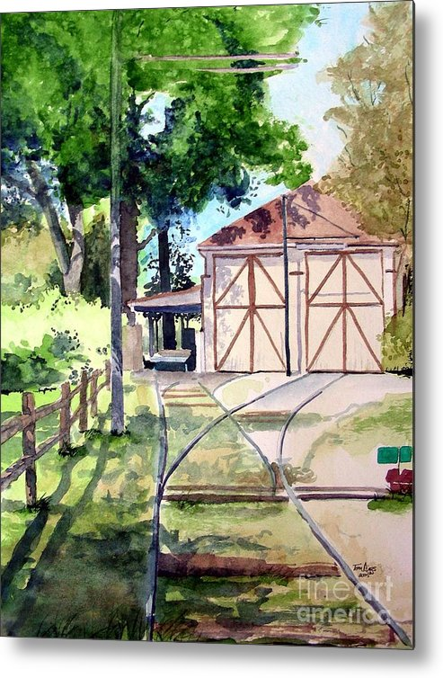 Trolley Metal Print featuring the painting Birney Trolley Barn by Tom Riggs
