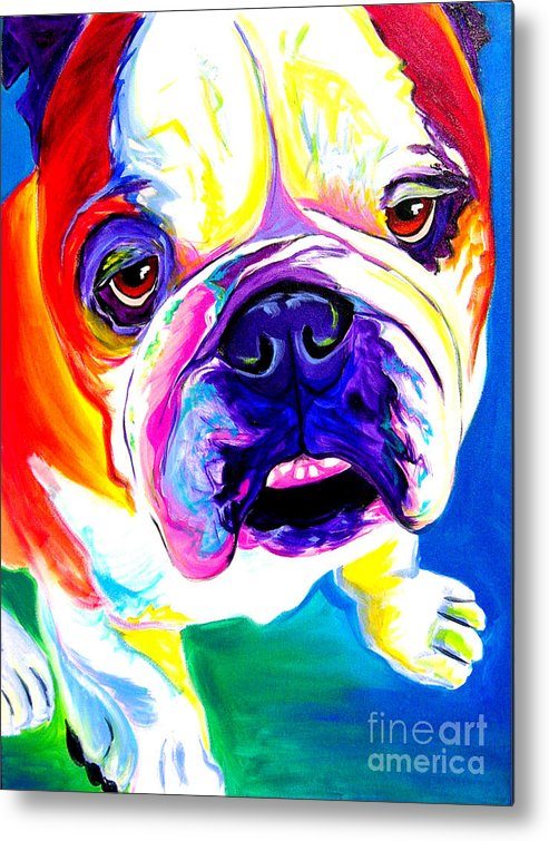 English Metal Print featuring the painting Bulldog - Stanley by Alicia VanNoy Call