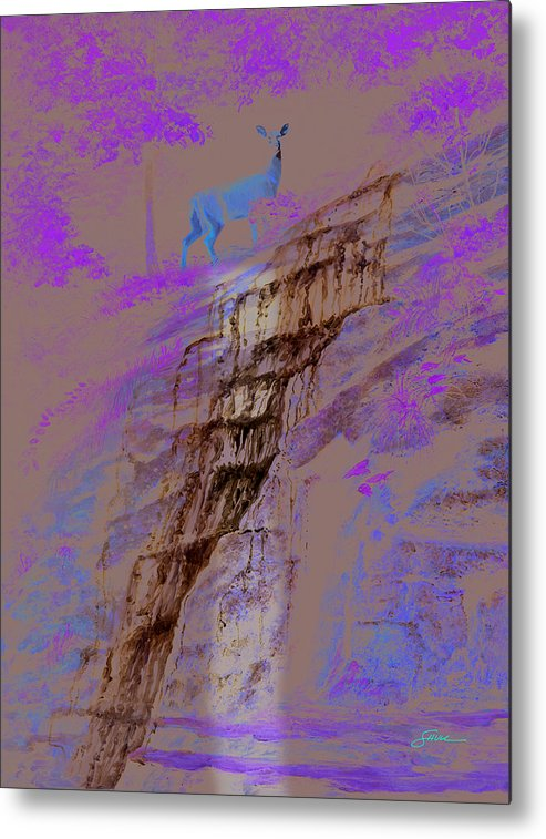Landscape Metal Print featuring the painting Cool Cascade by Harold Shull