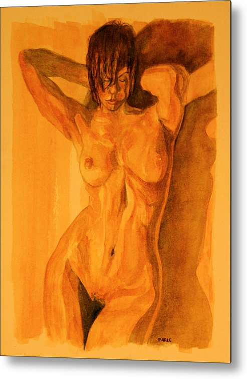 Female Nude Metal Print featuring the painting Francesca by Dan Earle