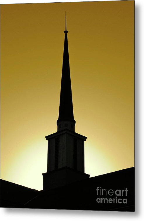 Cml Brown Metal Print featuring the photograph Golden Sky Steeple by CML Brown
