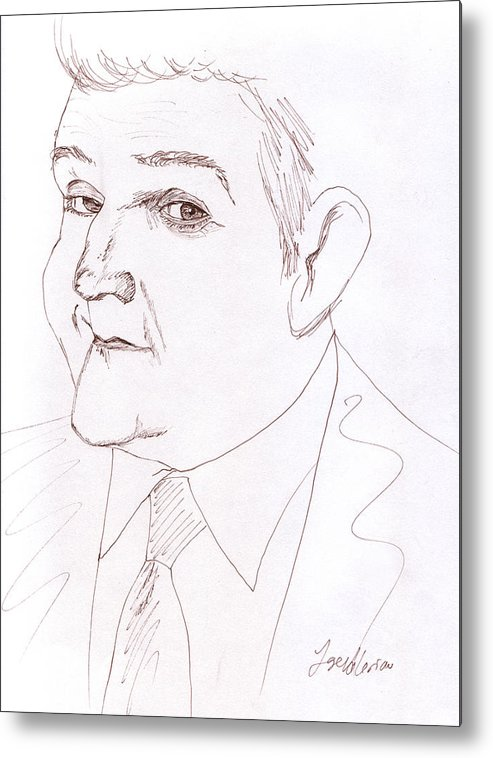 Jay Leno Metal Print featuring the drawing Jay Leno by Jose Valeriano