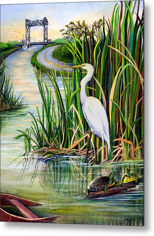 Louisiana Metal Print featuring the painting Louisiana Wetlands by Elaine Hodges