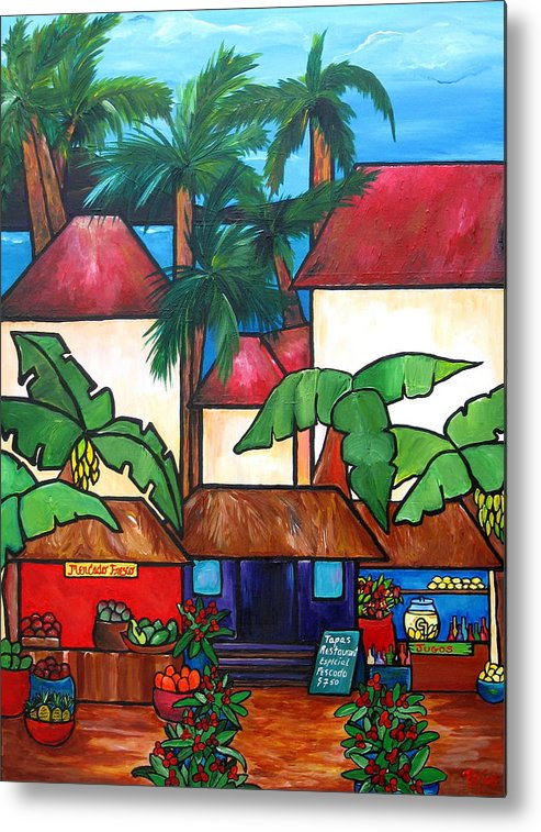 Puerto Rico Metal Print featuring the painting Mercado En Puerto Rico by Patti Schermerhorn
