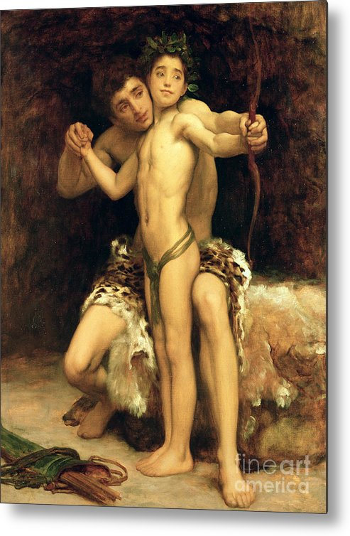 The Metal Print featuring the painting The Hit by Frederic Leighton
