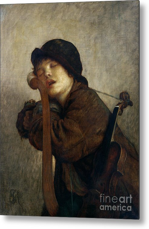 Boy Metal Print featuring the painting The Little Violinist Sleeping by Antoine Auguste Ernest Hebert