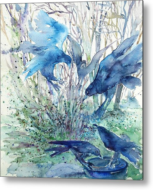 Birds Metal Print featuring the painting Ravens Wood by Trudi Doyle