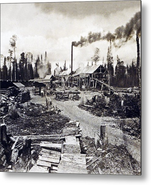 Concord Metal Print featuring the photograph Concord New Hampshire - Logging Camp - C 1925 by International Images