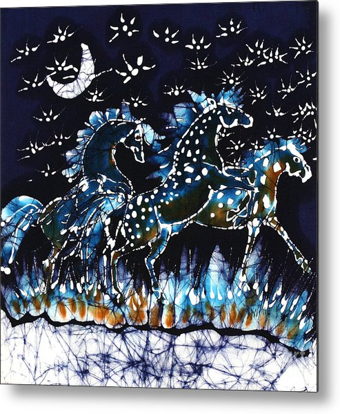 Horses Metal Print featuring the tapestry - textile Horses Frolic On A Starlit Night by Carol Law Conklin