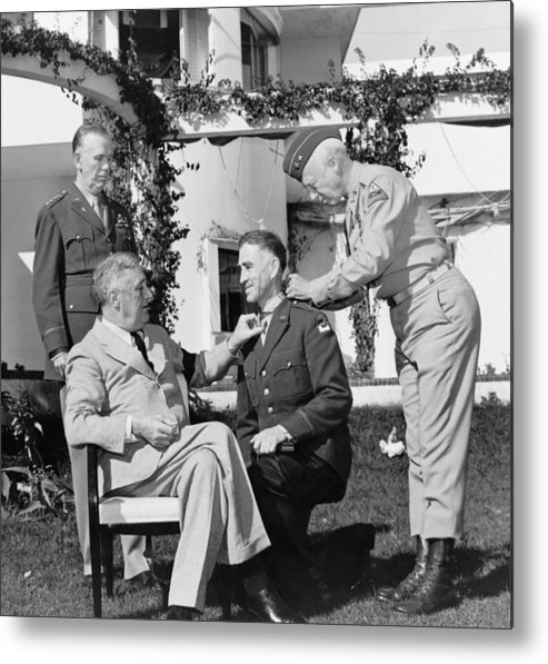 Franklin Roosevelt Metal Print featuring the photograph Fdr Presenting Medal Of Honor To William Wilbur by War Is Hell Store