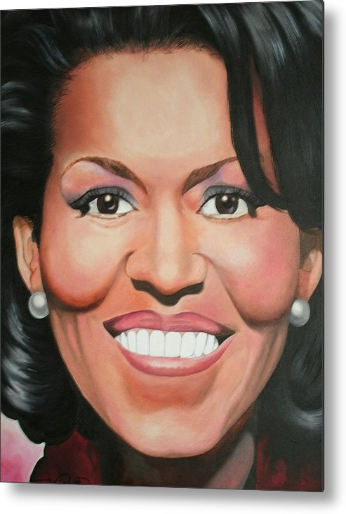 Michelle Obama Metal Print featuring the painting Michelle Obama by Timothe Winstead
