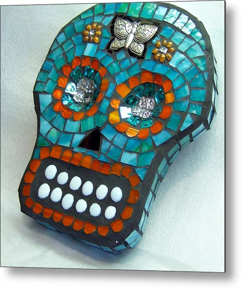 Dotd Metal Print featuring the glass art Sugar Skull by Jenny Bowman