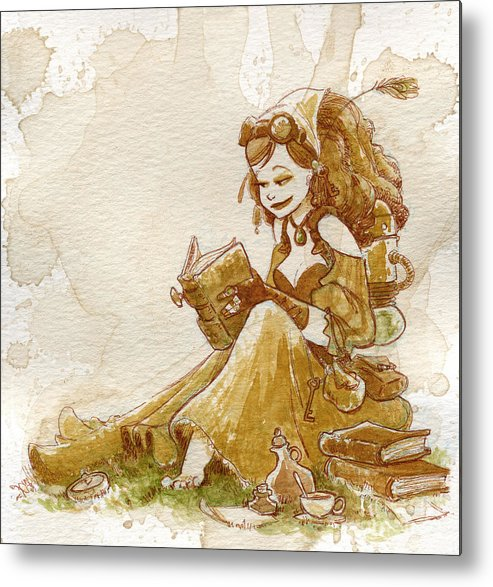 Steampunk Metal Print featuring the painting Chamomile 2 by Brian Kesinger
