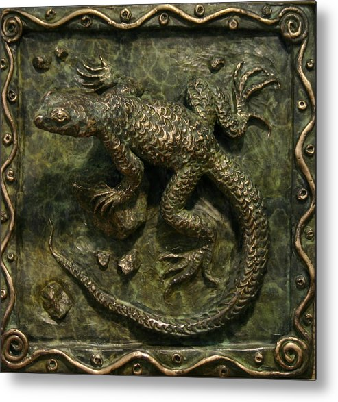 Miniature Metal Print featuring the sculpture Sagebrush Lizard by Dawn Senior-Trask