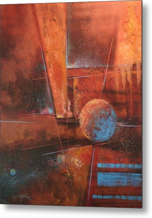 Abstract Art Metal Print featuring the painting Blue Planet by Tom Shropshire