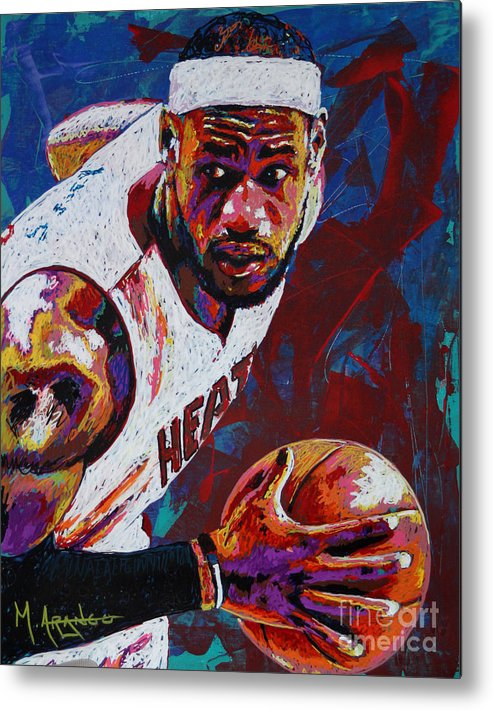 Lebron Metal Print featuring the painting King James by Maria Arango