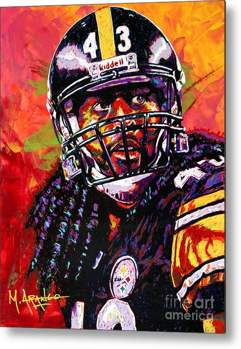Troy Metal Print featuring the painting Troy Polamalu by Maria Arango