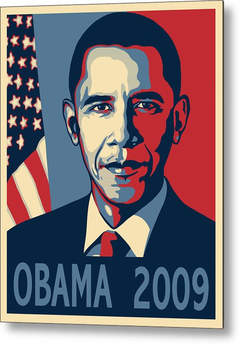Portrait Poster Metal Print featuring the digital art Barack Obama Presidential Poster by Sue Brehant
