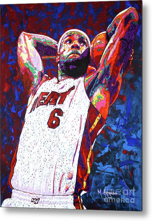 Lebron Metal Print featuring the painting Lebron Dunk by Maria Arango
