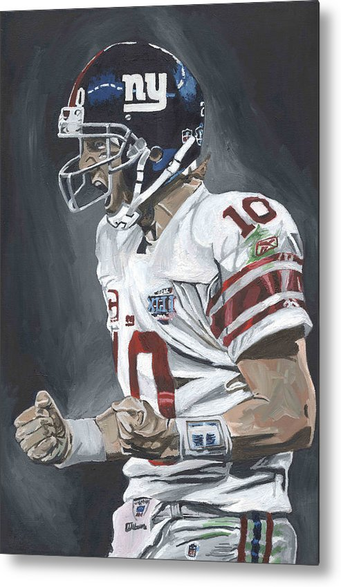 Eli Manning New York Giants Super Bowl Mvp Quarterback Nfl David Courson Sports Art Football Metal Print featuring the painting Eli Manning Super Bowl Mvp by David Courson