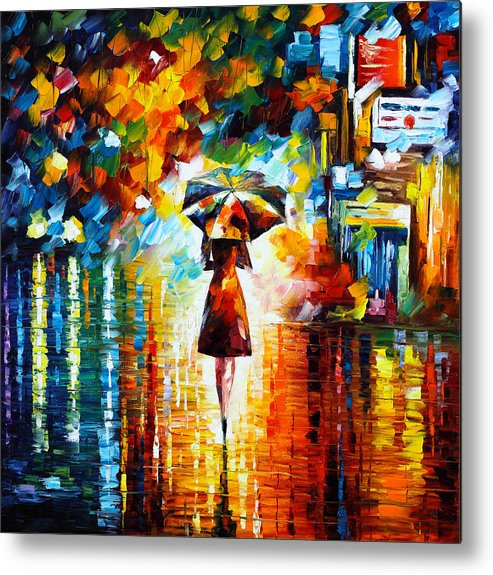 Rain Metal Print featuring the painting Rain Princess by Leonid Afremov