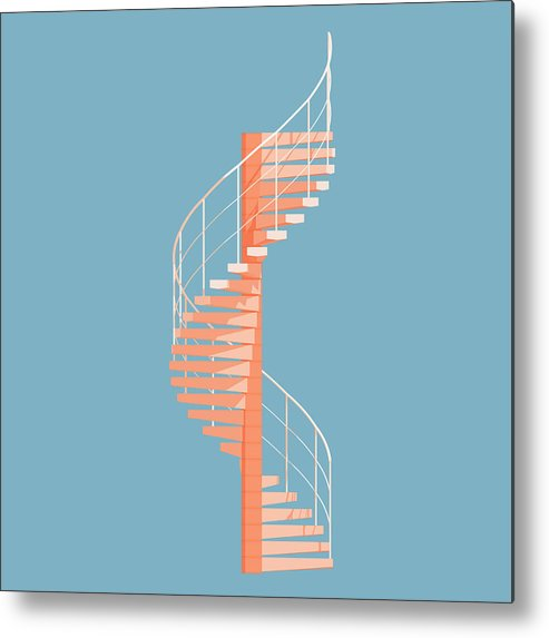 Architecture Metal Print featuring the digital art Helical Stairs by Peter Cassidy