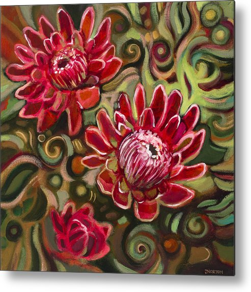 Jen Norton Metal Print featuring the painting Red Proteas by Jen Norton