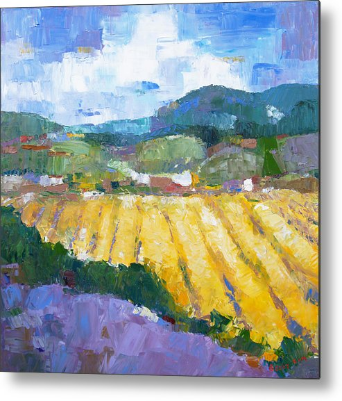 Oil Metal Print featuring the painting Summer Field 2 by Becky Kim