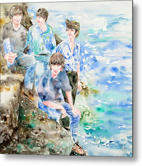 Beatles Metal Print featuring the painting The Beatles At The Sea Watercolor Portrait by Fabrizio Cassetta