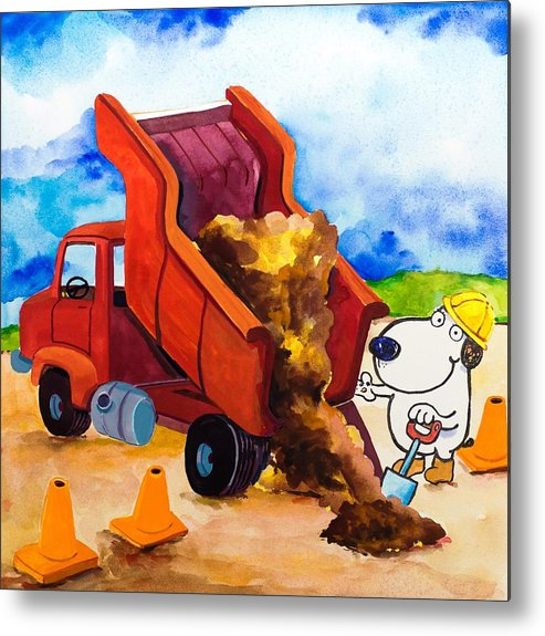 Dog Metal Print featuring the painting Construction Dogs 4 by Scott Nelson