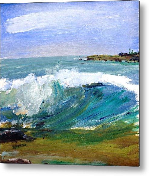 Ogunquit Beach Metal Print featuring the painting Ogunquit Beach Wave by Scott Nelson
