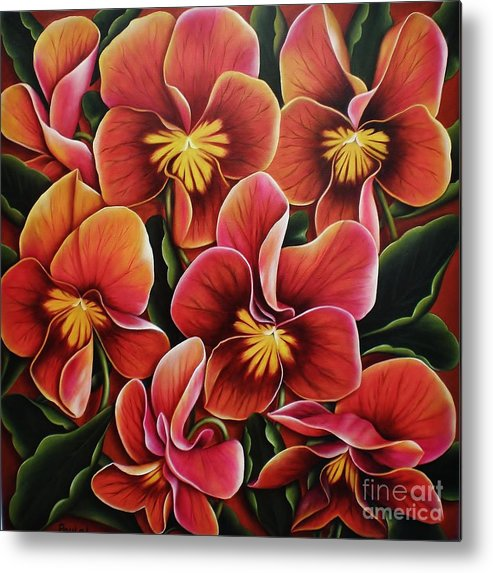 Pansies Metal Print featuring the painting Perfect Love by Paula L