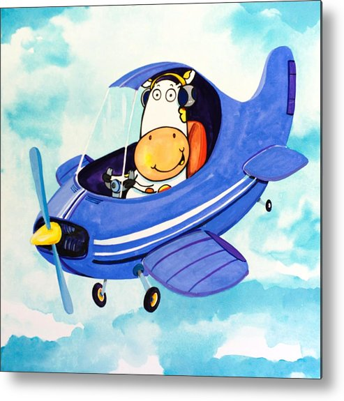Cow Metal Print featuring the painting Flying Cow by Scott Nelson