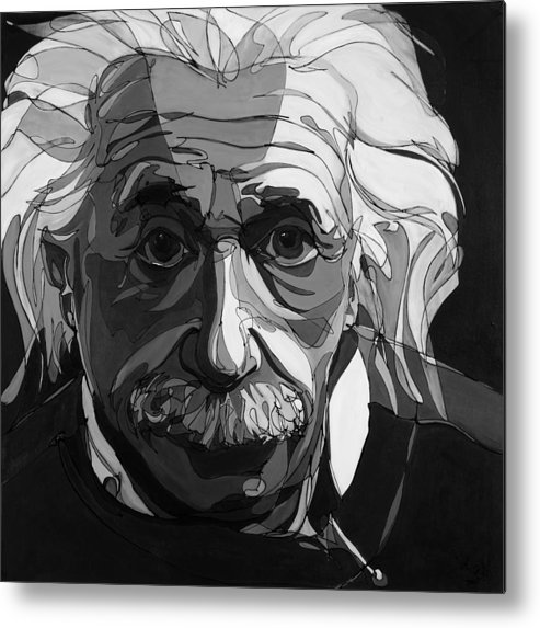 Albert Einstein Metal Print featuring the painting The Weight Of Genius by John Gibbs