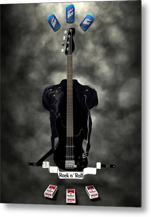 Rock N Roll Metal Print featuring the digital art Rock N Roll Crest-the Bassist by Frederico Borges