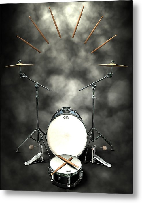 Rock N Roll Metal Print featuring the digital art Rock N Roll Crest-the Drummer by Frederico Borges