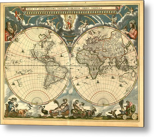 Vintage Metal Print featuring the digital art World Map by Gary Grayson