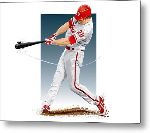 Chase Utley Metal Print featuring the digital art Chase Utley by Scott Weigner