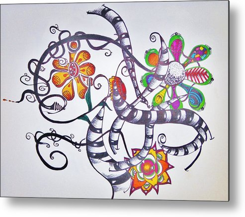 Flowers Metal Print featuring the drawing Flowers And Such by Lori Thompson